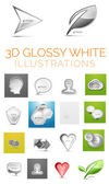 Vector 3d glossy white illustrations — Stock Vector