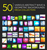 Abstract blurred waves and shiny designs set — Stok Vektör