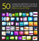 Abstracto olas borrosas y diseños brillantes conjunto — Vector de stock