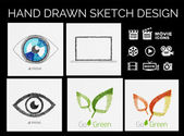 Drawn sketch designs — Stok Vektör