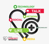Social like infographic keywords — Stock Vector