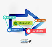 Arrow infographic flat line concept — Stockvektor