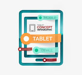 Tablet infographic scheme with tags — Stock Vector