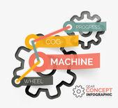Ingranaggio concetto infografica con connessione tag — Vettoriale Stock