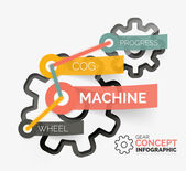 Versnelling infographic concept met tag-verbinding — Stockvector