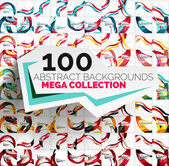 Mega collection of 100 waves — Stock Vector