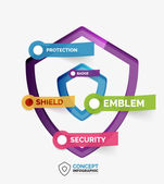 Vector shield icon infographic concept — Stockvector