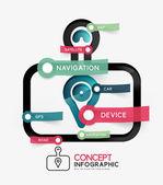 GPS navigator infographic concept — Stock Vector