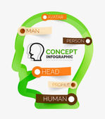 Human head infographic concept, line art — Stock Vector
