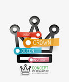 Vector crown infographics, line style and keys — Stock Vector