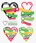 Vector social like heart infographic, tags — Stock Vector