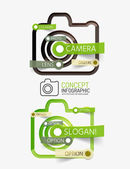 Camera infographics with tag cloud design — Stock Vector