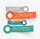 Vector protection tag cloud of stickers — Stock Vector