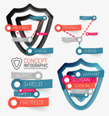 Vector shield protection infographic — Stock Vector