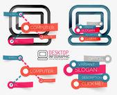 Vector desktop pc infographics and keyword cloud — Stock Vector