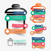 Vector rubbish bin infographic with stickers — Stock Vector