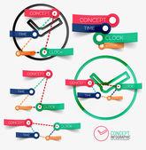 Vecteur horloge infographie et des mots-clés — Vecteur