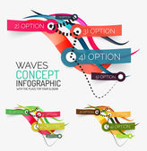 Vector abstract wave infographic — Stock Vector