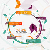 Floral swirl autumn infographic report, minimal — Stock Vector