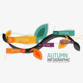 Floral swirl autumn infographic report, minimal — Stock Vector