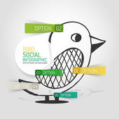Vector drawn social bird design and infographics — Stok Vektör