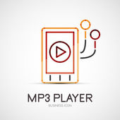 Mp3 player company logo, business concept — Stock Vector