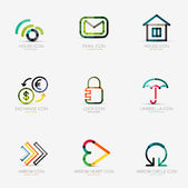 Set of various company logos, business icons — Stock Vector