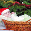 Royalty-Free Stock Photo: Small breast child in basket near new year\'s fir tree