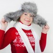 Stock Photo: Young beautiful girl in fur cap