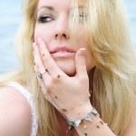 Portrait of the beautiful blonde ashore epidemic deathes — Stock Photo