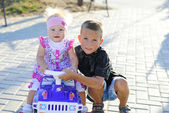 Brother and sister on the walk — Stock Photo