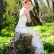 Beautiful girl bride in green wood by summer — Stock Photo #25154515