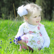 Little girl on a green meadow in a beautiful dress — Stockfoto