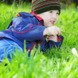 Foto de Stock  : Little boy on green grass