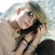 Beautiful stylish girl in the mountains — Stock Photo #31414545