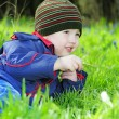 Little boy on the green grass — Stok fotoğraf