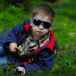 Trendy little boy with glasses — Stock Photo
