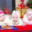 Stock Photo: The boy and the Twins girls near a Christmas tree