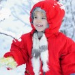 The little girl in the snow — Stock Photo