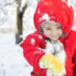 Stock Photo: The little girl in the snow