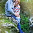 Young beautiful couple in park — Stock Photo