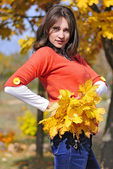 Beautiful girl among the yellow leaves in autumn — Стоковое фото