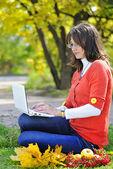 Giovane bella ragazza su un prato verde con un computer — Foto Stock