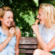 Stock Photo: Two women with ice cream