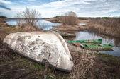 Upturned boat — Stock Photo