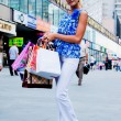 Woman with shopping — Foto Stock