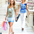 Stock Photo: The two women go shopping in a mall