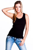 A woman in a black t-shirt — Stock Photo