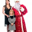 Santa Claus and a mother and daughter — Stock Photo