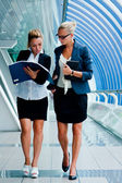 Two business women discussing project — Stock Photo